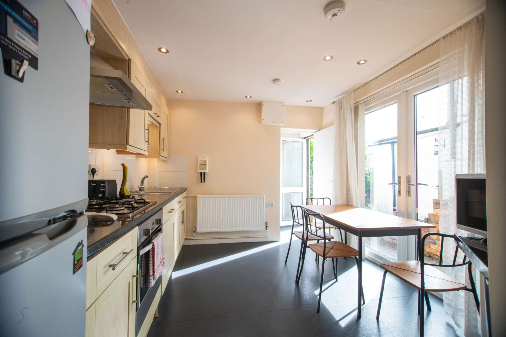 Kitchen with French doors onto garden